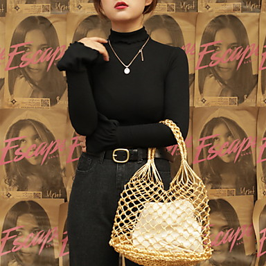 Γυναικεία Με Τρύπες Άχυρο Σετ τσάντα Χρυσό / Μαύρο / Ασημί