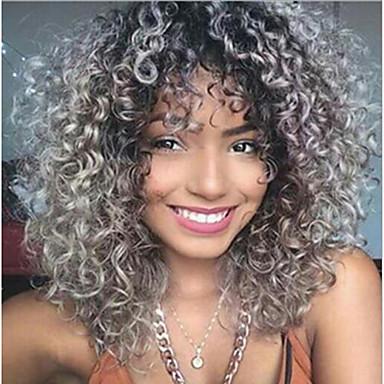 Συνθετικές Περούκες Afro Afro Kinky Ελεύθερο μέρος Περούκα Ombre Κοντό Γκρι Συνθετικά μαλλιά 12inch Γυναικεία Ρυθμιζόμενο Ανθεκτικό στη Ζέστη Κλασσικό Ombre