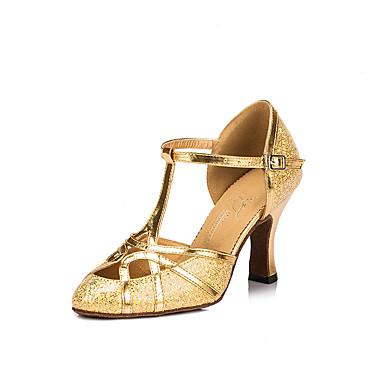Γυναικεία Μοντέρνα παπούτσια / Αίθουσα χορού Συνθετικά Λουράκι Τ Τακούνια Κόψιμο Κουβανικό Τακούνι Εξατομικευμένο Παπούτσια Χορού Χρυσό / Επίδοση