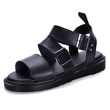 Herre / Unisex Komfort Sko PVC Vår sommer Fritid Sandaler Pustende Svart / Hvit