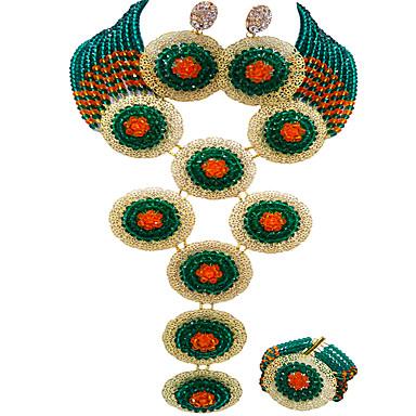 levne Dámské šperky-Dámské Náhrdelník Náušnice Náramek Boncuklar Šťastný Elegantní Afrika Náušnice Šperky Světle žlutá / Zelená / Duhová Pro Svatební Párty Dar Denní Festival 1 sada