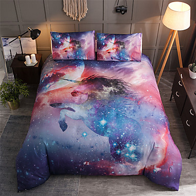Conjunto de cama de unicórnio para consolador animais coloridos dos desenhos animados capa de edredão com fronhas twin completo rainha king size crianças novo