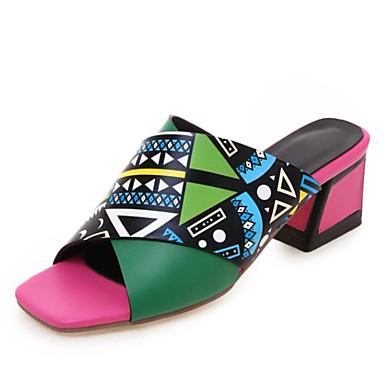 voordelige Damespantoffels & slippers-Dames Slippers & Flip-Flops Platte hak Open teen PU Zomer Geel / Groen / Blauw / Kleurenblok