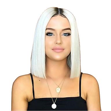 Syntetiske parykker Tight Curl Lagvis frisyre Parykk Medium Lengde Svart / Hvit Syntetisk hår 38~40 tommers Dame Fest Hvit
