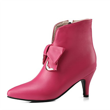 levne Dámská obuv-Dámské Boty Fashion Boots Kónický Palec do špičky Mašle PU Kotníčkové Podzim zima Bílá / Černá / Fuchsiová