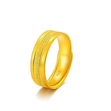 billige Motering-Herre Band Ring 1pc Gull Kobber Strass Gullbelagt Geometrisk Form Unikt design Mote Daglig Arbeid Smykker Klassisk Dyrebar Kul