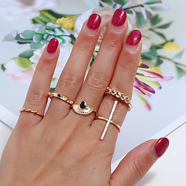 billige Motering-Dame Ring Ring Set 6pcs Gull Legering Enkel Klassisk Vintage Daglig Gate Smykker Klassisk Retro Kors Kul Smuk