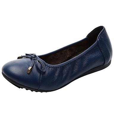 levne Dámské boty s plochou podrážkou-Dámské Bez podpatku Rovná podrážka Nappa Leather Jaro & podzim Černá / Světle modrá / Bílá