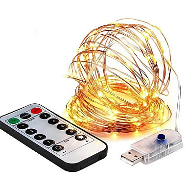 10 ίντσες Φώτα σε Κορδόνι 100 LEDs Θερμό Λευκό Διακοσμητικό 5 V 1set