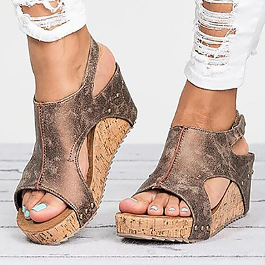 cheap Women's Sandals-Women's Sandals Wedge Sandals Comfort Shoes Cowboy / Western Boots Summer Wedge Heel Open Toe Vintage British Daily Solid Colored PU Black / Brown / Beige