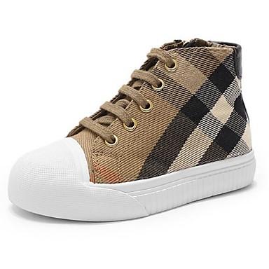 preiswerte Schuhe für Kinder-Mädchen Komfort Leinwand Sneakers Große Kinder (ab 7 Jahren) Weiß / Schwarz Frühling / Herbst