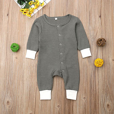 cheap Baby Boys' One-Piece-Baby Boys' Active / Basic Solid Colored Long Sleeve Romper Green