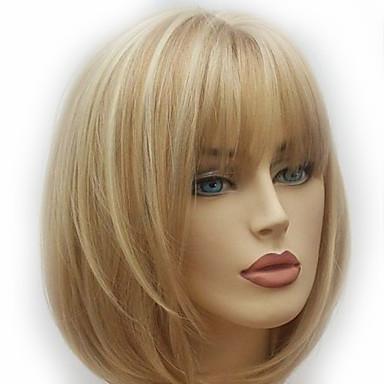 billige Syntetiske parykker-Syntetiske parykker Naturlig rett Stil Lagvis frisyre Parykk Gull Medium Lengde Lys Gylden Syntetisk hår 28~32 tommers Dame Ny ankomst Gull Parykk