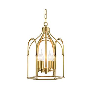 anheng lampe metallburer lysekroner kjede justerbare antikke anheng lysarmaturer spisebord overhead lys gull 4 lys lysekrone