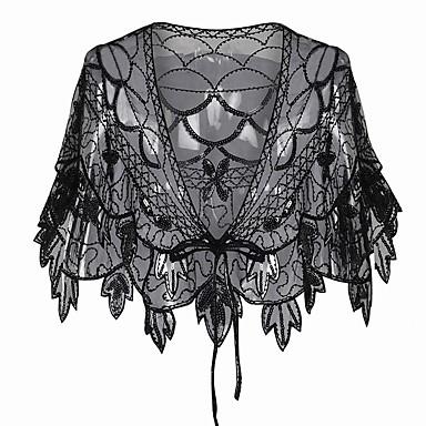 The Great Gatsby Charleston 1920s Flapper Dress Party-kostyme Dame Paljetter Kostume Svart / Svart+Gylden / Svart+Sølv Vintage Cosplay Fest Skoleball Kortermet / Sjal / Kjole / Sjal / Kjole