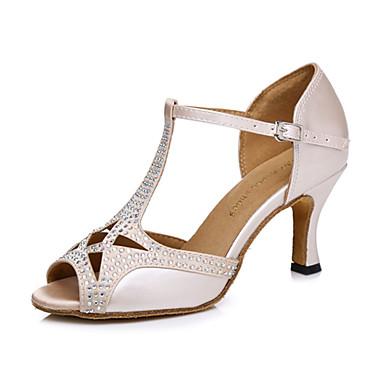 Dame Dansesko Fuskelær Sko til latindans Høye hæler Kubansk hæl Kan spesialtilpasses Naken / Ytelse / Lær / Trening