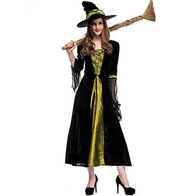 Trollmann / heks Kjoler Cosplay Kostumer Maskerade Voksne Dame Cosplay Halloween Jul Halloween Karneval Festival / høytid Sateng / tyll Plysj-stoff Svart Dame Karneval Kostumer Lapper Ferie Halloween
