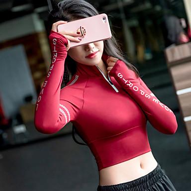 Mulheres Yoga Top Letra Elastano Corrida Fitness Treino de Ginástica Blusas Manga Longa Roupas Esportivas Respirável Pavio Humido Secagem Rápida Micro-Elástica