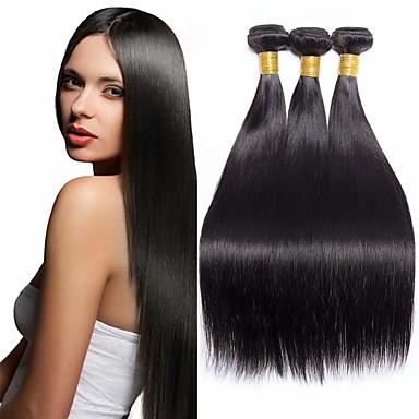 preiswerte Haarverlängerungen-3 Bündel Brasilianisches Haar Glatt Cabello Natural Remy Menschenhaar spinnt 8-28 Zoll Natur Schwarz Menschliches Haar Webarten Haarverlängerungen / 10A / Gerade