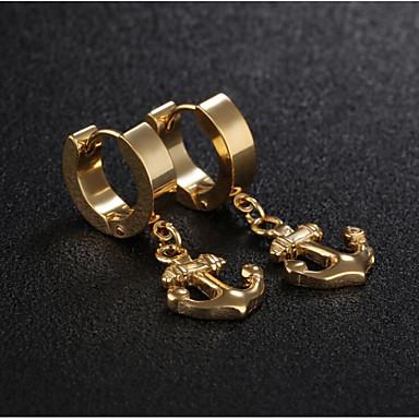 levne Pánské šperky-Pánské Dámské Náušnice Retro styl Kotva stylové Náušnice Šperky Zlatá / Černá / Stříbrná Pro Dar Denní 1 Pair