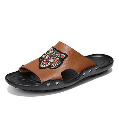 Ανδρικά Δερμάτινα παπούτσια Δέρμα Φθινόπωρο / Ανοιξη καλοκαίρι Καθημερινό Παντόφλες & flip-flops Αναπνέει Μαύρο / Καφέ