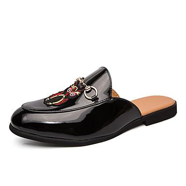 Ανδρικά Παπούτσια άνεσης PU Καλοκαίρι Καθημερινό Σαμπό & Mules Μη ολίσθηση Συνδυασμός Χρωμάτων Μαύρο / Λευκό
