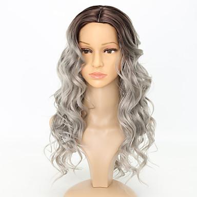 Συνθετικές Περούκες Κυματομορφή Σώματος Με αφέλειες Περούκα Μεσαίου Μήκους Μαύρο / Λευκό Συνθετικά μαλλιά 23 inch Γυναικεία Γυναικεία Lovely Ρομαντικό Λευκή