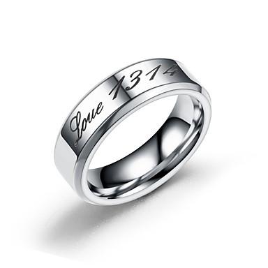 levne Pánské šperky-Pánské Dámské Snubní prsteny Band Ring Prsten 1ks Zlatá Stříbrná Nerez Kulatý Základní Módní Svatební Zásnuby Šperky Rakam Písmeno Půvab