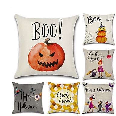 6 stk Lin Putecover, Spesielt design Ferie Tradisjonell Halloween Kaste pute