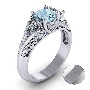 billige Motering-personlig tilpasset Blå Turkis Ring Klassisk Gave Love Festival Geometrisk Form 1pcs Sølv