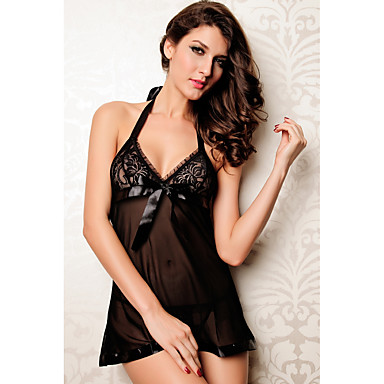 cheap Women's Sexy Lingerie-Women's Lace Sexy Babydoll & Slips Nightwear Solid Colored Black One-Size