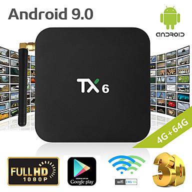 tx6 smart tv κιβώτιο android 9.0 4k iptv 4GB ddr3 64gb emmc bt 4.1 υποστήριξη dual wifi 2.4g / 5ghz youtube h.265 set top box