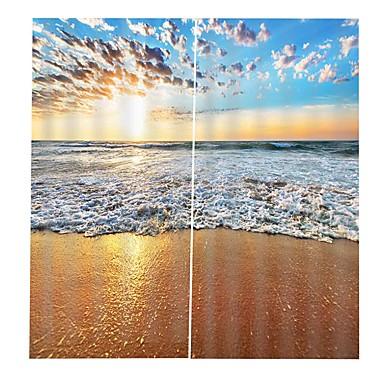 moderne enkel 3d utskrift high definition strand bølge kart hjem dekorasjon fortykning ren polyester multifunksjon gardin multifunksjonell bad gardin / gardin