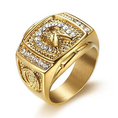 levne Pánské šperky-Pánské Prsten Kubický zirkon 1ks Zlatá Titanová ocel Geometric Shape stylové Denní Šperky Klasika Naděje Cool