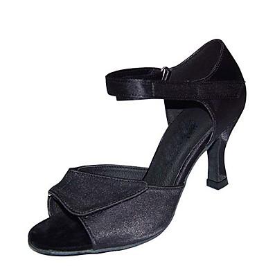 Mulheres Sapatos de Dança Cetim / Couro Ecológico Sapatos de Dança Latina Lantejoula Salto Salto Carretel Personalizável Preto / Marron / Caqui / Espetáculo / Ensaio / Prática