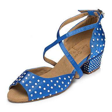 Γυναικεία Παπούτσια Χορού Σατέν Παπούτσια χορού λάτιν Τεχνητό διαμάντι / Κρύσταλλο / Στρας Τακούνια Πυκνό τακούνι Εξατομικευμένο Μπλε / Επίδοση / Δέρμα