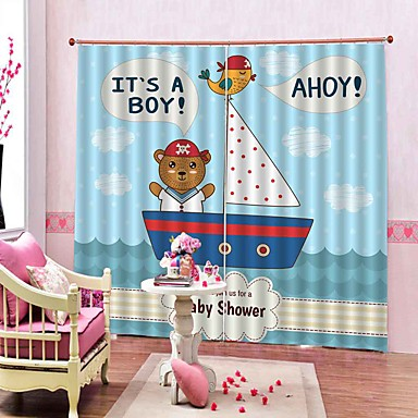 Estilo dos desenhos animados kids room urso 3d impressão eif cortinas da janela design 100% poliéster blackout tecido decorativo quarto cortinas