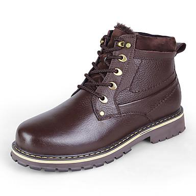Ανδρικά Δερμάτινα παπούτσια Νάπα Leather Χειμώνας Κλασσικό / Καθημερινό Μπότες Περπάτημα Διατηρείτε Ζεστό Μποτίνια Μαύρο / Ανοικτό Καφέ / Σκούρο καφέ / ΕΞΩΤΕΡΙΚΟΥ ΧΩΡΟΥ / Γραφείο & Καριέρα