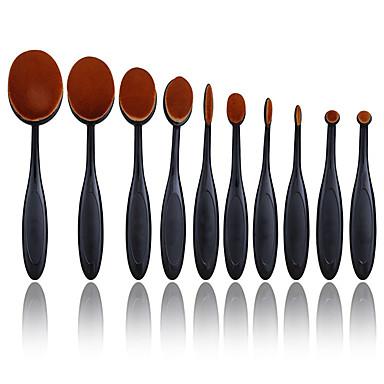 Profesjonell Makeup børster 10pcs Full Dekning comfy Kunstig fiber børste Tre / Bambus til Sminkebørste