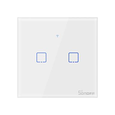 sonoff t1uk2c-tx tx-serien wifi veggbryter smart veggkontakt lysbryter for smart hjemme arbeid med alexa google hjemme 100-240v