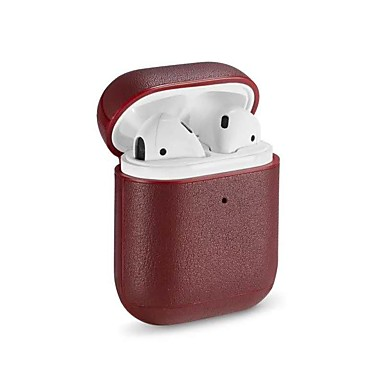 airpods ακουστικά τσάντα μεταφοράς pu δέρμα κοκκινίζει / μαύρο 1 τεμ