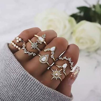 billige Motering-Dame Ring Ring Set 10pcs Gull Strass Opal Legering Klassisk Vintage Bohemsk Daglig Gate Smykker Klassisk Stjerne Pære Kul