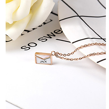 cheap Name Necklaces-Personalized Customized Necklace Name Necklace Titanium Steel Classic Name Engraved Gift Promise Festival Oval 1pcs Rose Gold / Laser Engraving