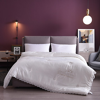 cheap Quilts & Coverlets-Bamboo Cotton Lace Jacquard Embroidered Double Wedding Spring and Autumn  Thick Quilt Core  Bedding Set