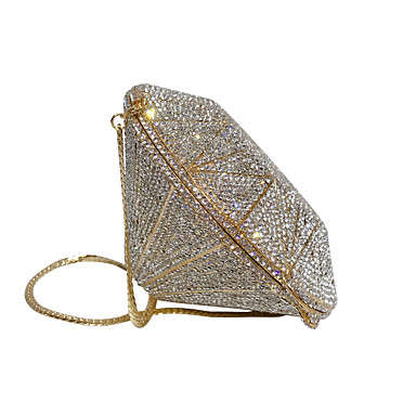 cheap Clutches & Evening Bags-Women's Crystals Alloy Evening Bag Solid Color Gold / Silver / Fall & Winter