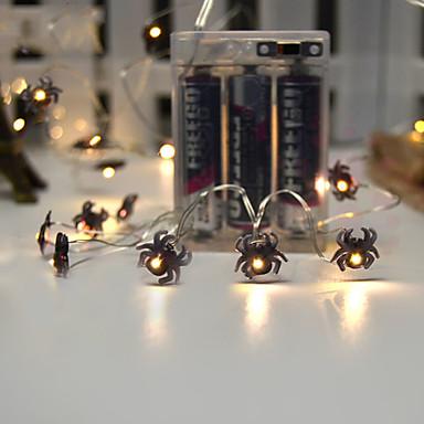 3m svart edderkoppstrømslampe 30 leds varm hvit halloween fest dekorativ 3 v 1 sett