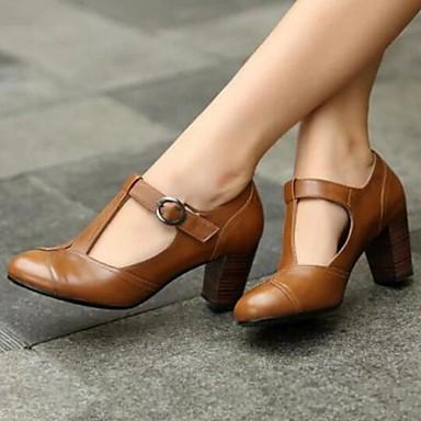 cheap Women's Heels-Women's Heels Chunky Heel PU Spring Black / Brown / Yellow / Daily