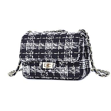 Γυναικεία Αλυσίδα Τουίντ Σταυρωτή τσάντα Δικτυωτό Μαύρο / Αμύγδαλο / Μαύρο / Άσπρο / Φθινόπωρο & Χειμώνας