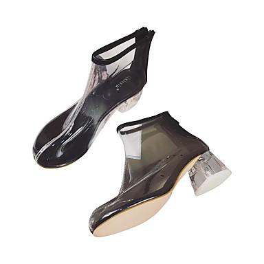 preiswerte Lucite Heels-Damen Stiefel Blockabsatz Runde Zehe Kristall Gummi Booties / Stiefeletten Freizeit / Lucite Ferse Herbst Winter Schwarz / Weiß / Gelb