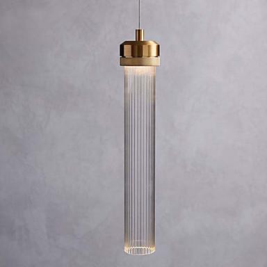 jednostruki privjesak svjetiljka minimalistički privjesak svjetlo staklo sjenilo cilindar privjesak rasvjeta ambijentalno svjetlo galvanski brušenog metala novi dizajn vodio toplo bijelo